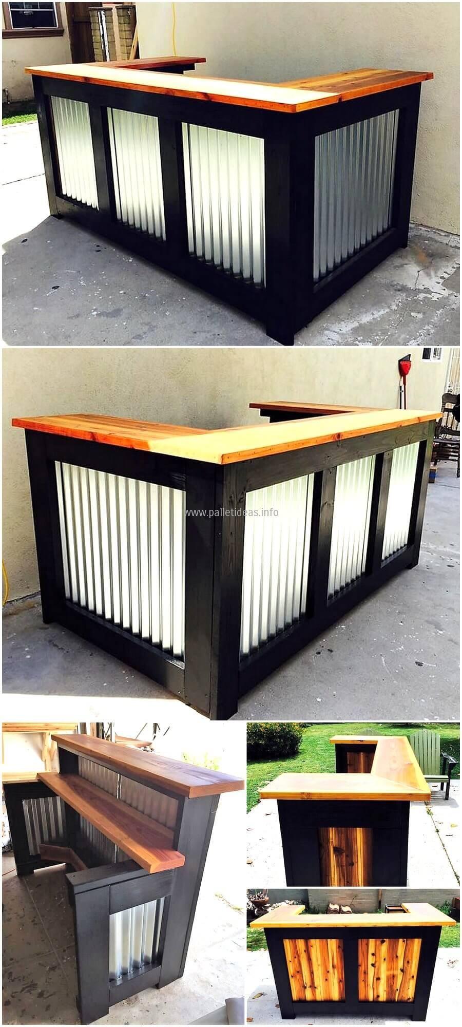Reclaimed wooden pallet bar idea wooden pallets pallets and bar