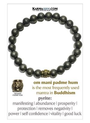 Abundance Natural Pyrite Bracelet Beaded Meditation Spiritual Stretch Mantra Reiki Healing Energy Boho Charm Chakra Wrap Yoga Jewelry /& Gemstone Gifts