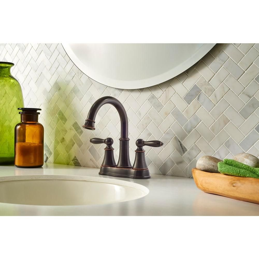 Pfister Courant 4 in. Centerset 2-Handle High-Arc Bathroom Faucet in ...