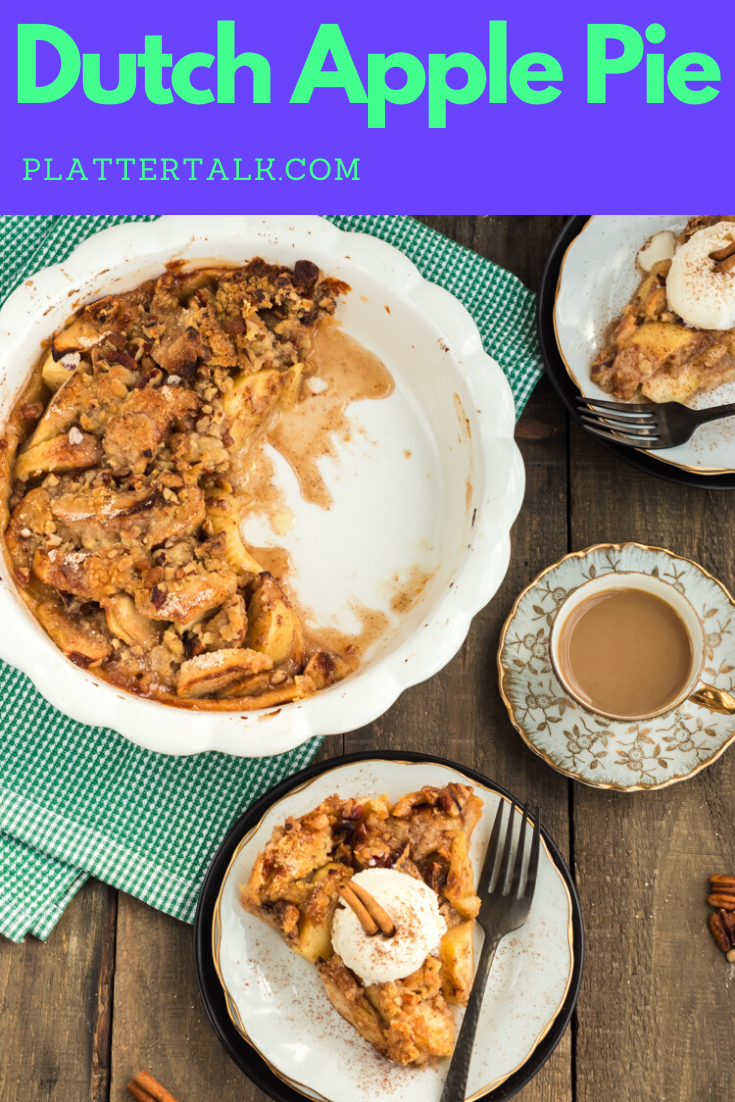 Dutch apple pie is a classic American recipe you can make any time of the year. Using a simple sweet crumb topping, this open-face apple pie is one of the best desserts we've ever made! #easy #recipe #crumb  #topping #homemade #apple #dessert #Dutchapplepie #Plattertalk #pioneerwoman #best