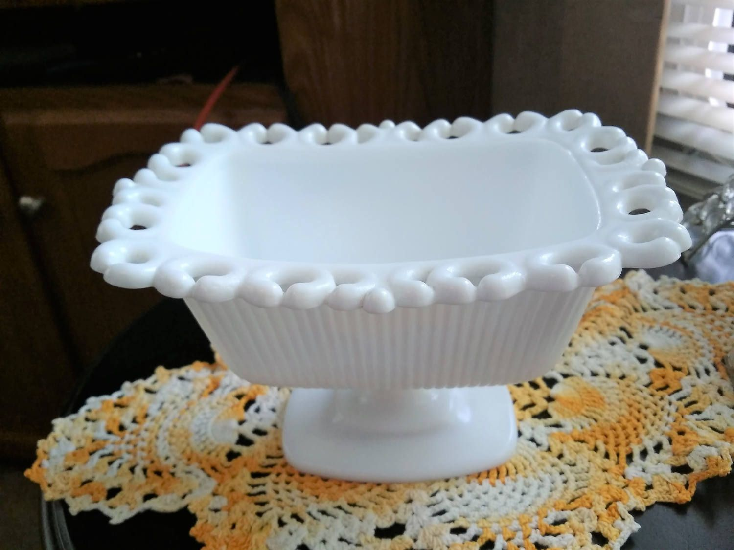 Westmoreland Milk Glass Doric Open Lace Footed Rectangle