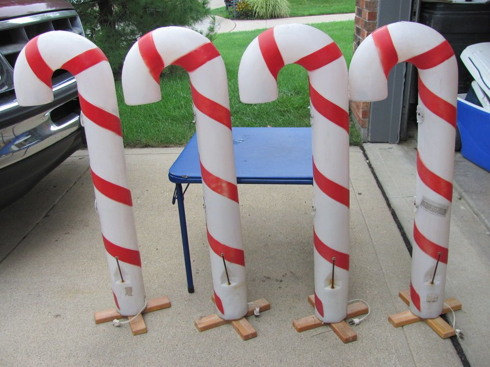 Candy Cane Outdoor Decorations 440 Peppermint Candy Canes Xmas Blowmold Light Up Plastic Outdoor
