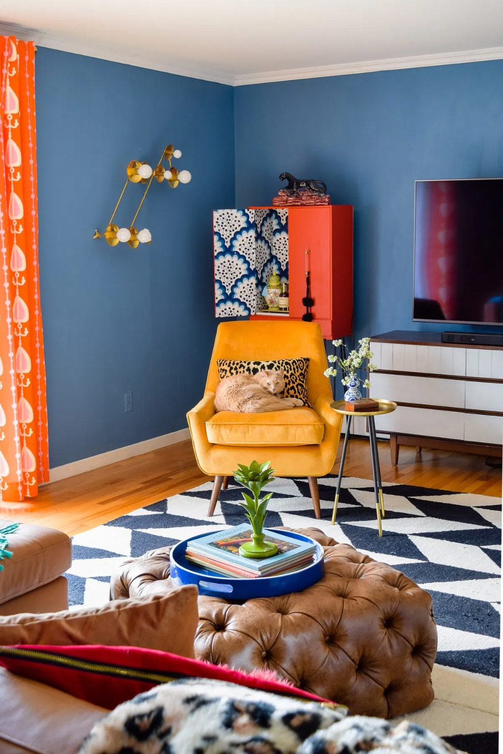 Our Mid Mod Eclectic Living Room is complete! It packs a punch and mixes old with new, through colour and pattern. #mcm #midmod #eclectichome # livingroom #mcmlivingroom #DiyCraftsForRoomDecor