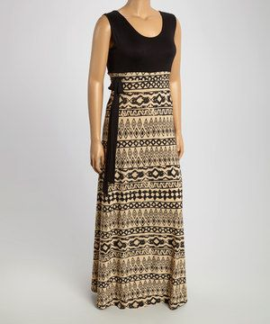 This Black & Beige Tribal Tie-Waist Maxi Dress - Plus by GLAM is perfect! #zulilyfinds