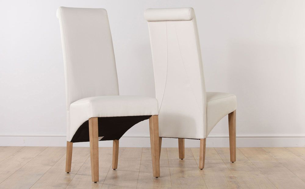 Richmond Cream Leather Dining Chair Oak Leg Furniture Choice
