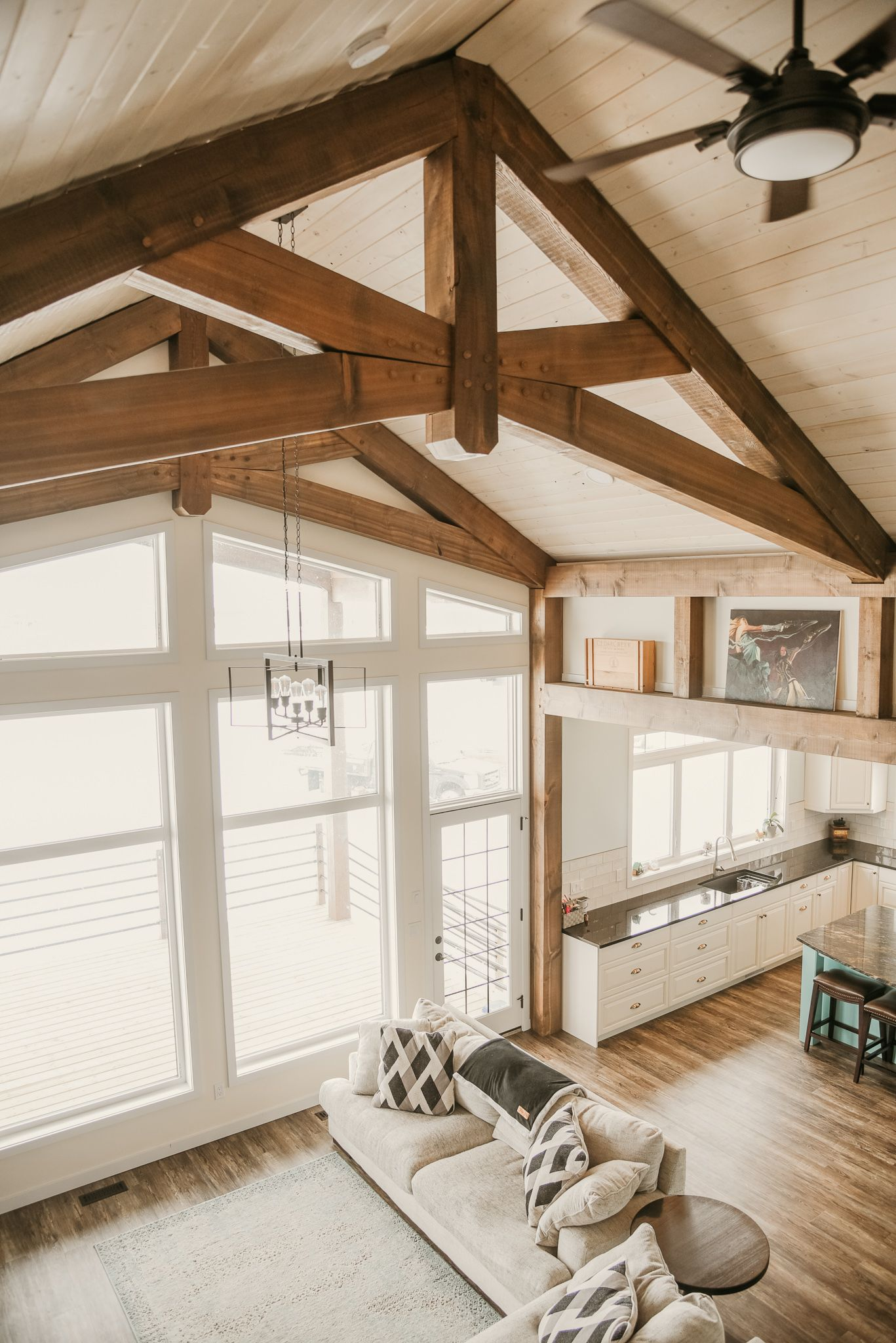 Structural Timber Frame Interior Vaulted Ceiling Living Room Timber House A Frame House