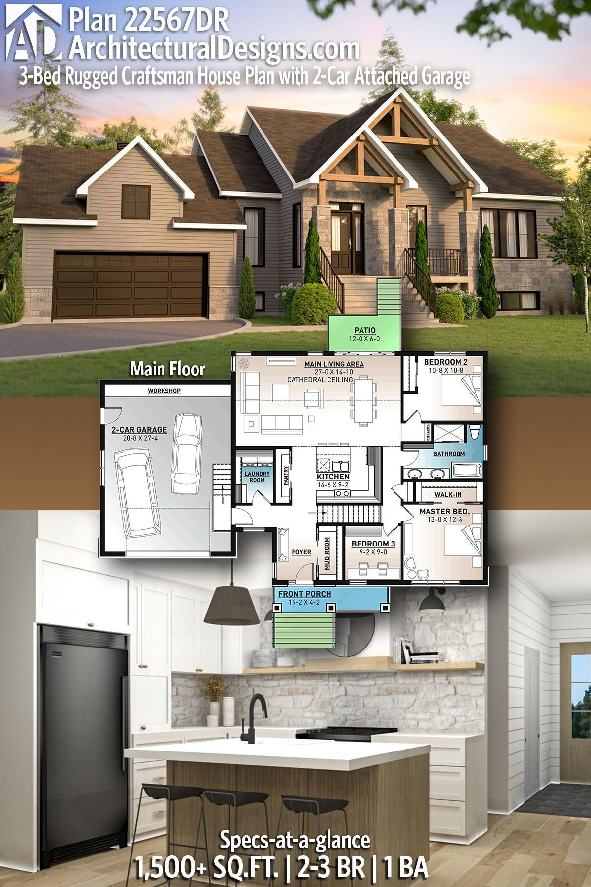 Plan 22567dr 3 Bed Rugged Craftsman House Plan With 2 Car Attached Garage In 2020 Craftsman House House Plans Architectural Design House Plans