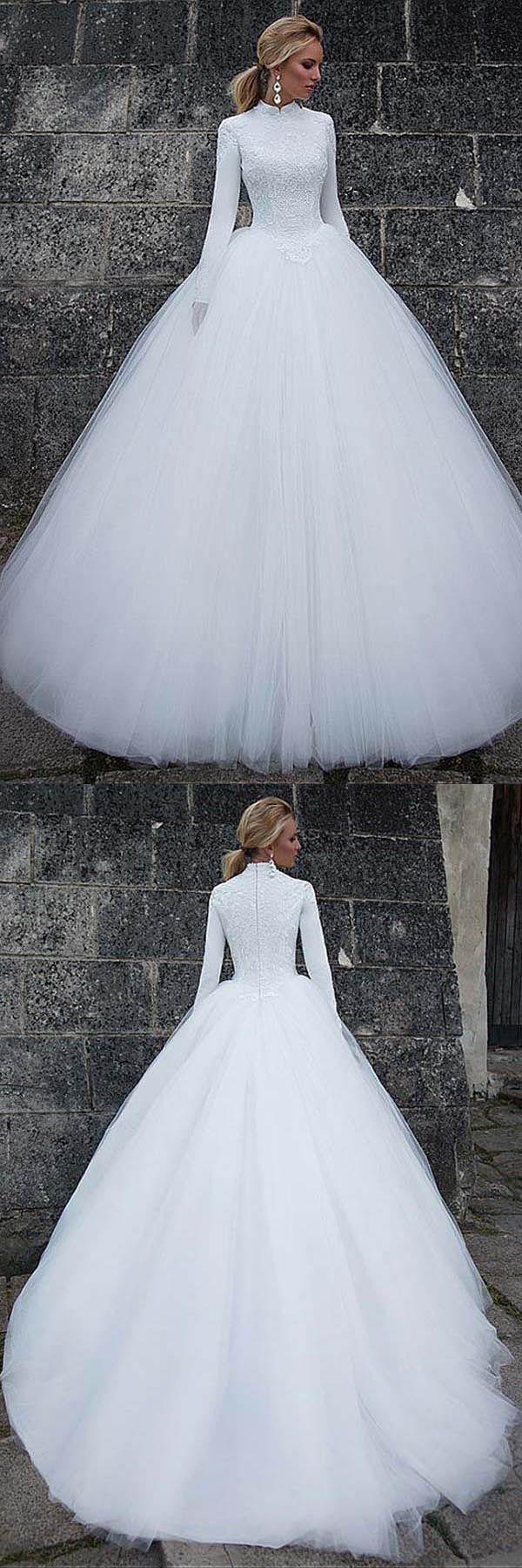Vintage satin high collar natural waistline ball gown wedding dress
