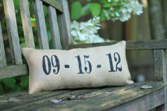 Wedding/Anniversary/Birth Date Pillow : Sweet Burlap Decorative Accent Pillow on Etsy, $25.00