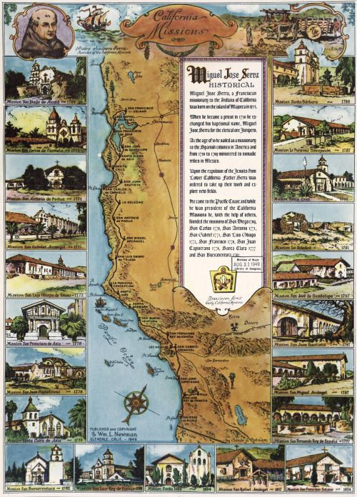 Newman California Map.California Missions 1949 William Newman Maps Pinterest