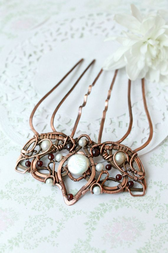 Wire wrap comb copper comb crown hairpin by LenaSinelnikArt | Wire ...