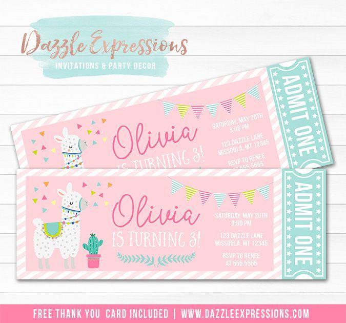 Printable Girls Llama Ticket Birthday Invitation Pink And Mint