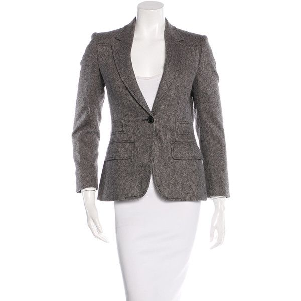 Pre-owned Gucci Wool Herringbone Blazer ($175) ❤ liked on Polyvore featuring outerwear, jackets, blazers, grey, gray wool blazer, wool jacket, one button blazer, grey herringbone jacket and wool herringbone blazer