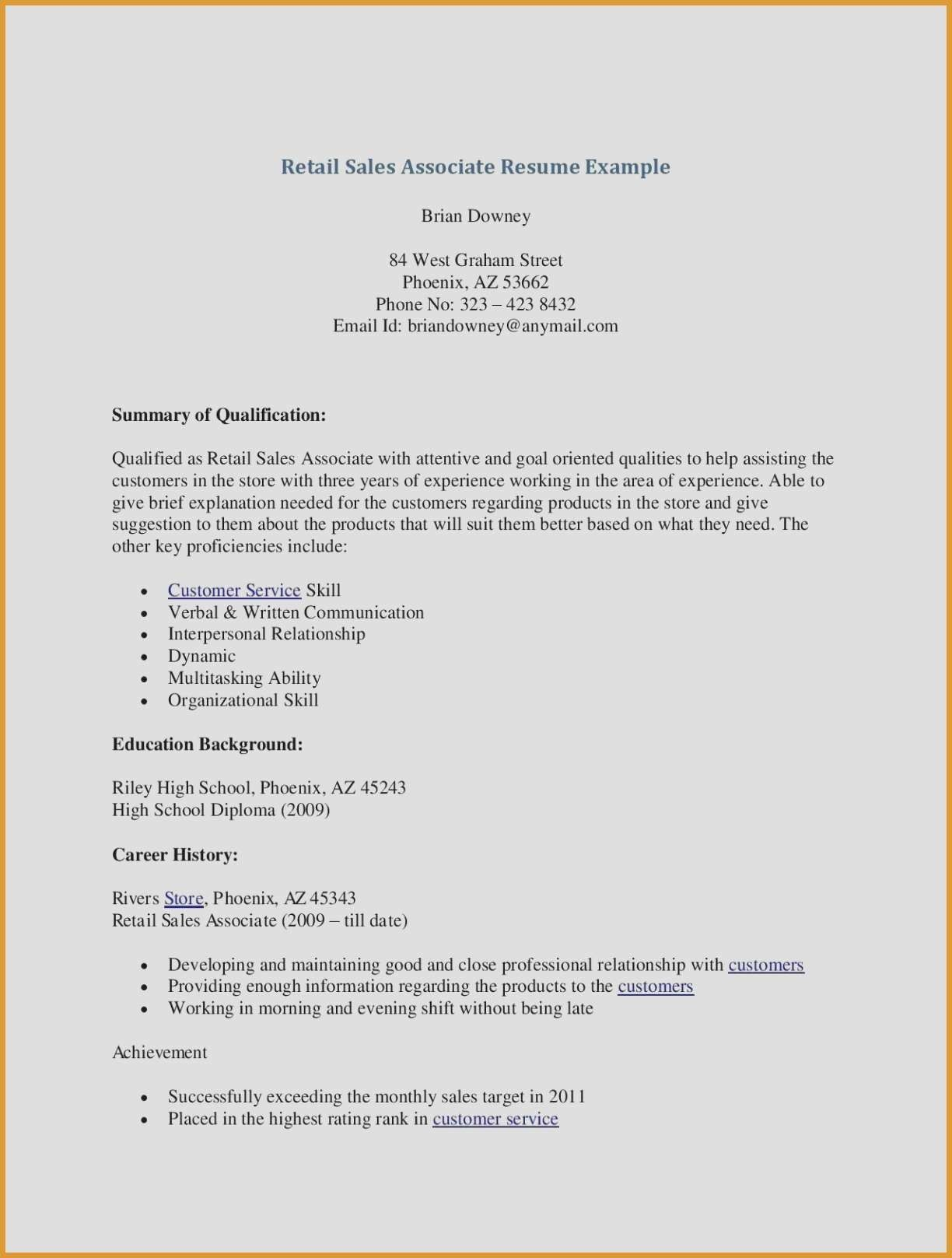 70 Beautiful Gallery Of Sample Resume For Fragrance Sales