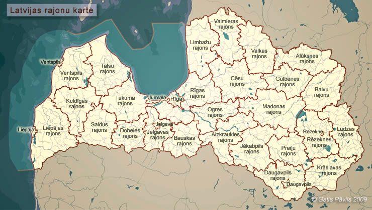 Latvijas Parskata Karte Rajoni Latvia Photo Map