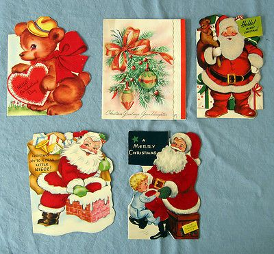 Vintage Holiday Greeting Cards Christmas Valentines Day 1940s 1950s Velvety Lot