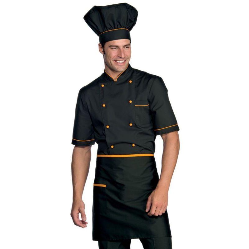 Veste De Cuisine Noir Motif Orange Cuoco Isacco Manches Courtes