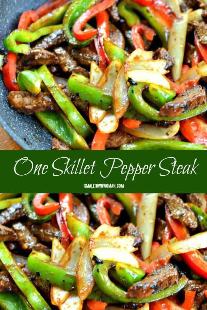 One Skillet Steak and Peppers | Steak and Peppers | Dinner | One Skillet Recipes | Steak Recipes | Bell Pepper Recipes | Hoisin Sauce | Stir Fry Recipes | Small Town Woman #steakandpeppers #oneskilletrecipes #stirfry #dinnerrecipesforfamilymaindishes