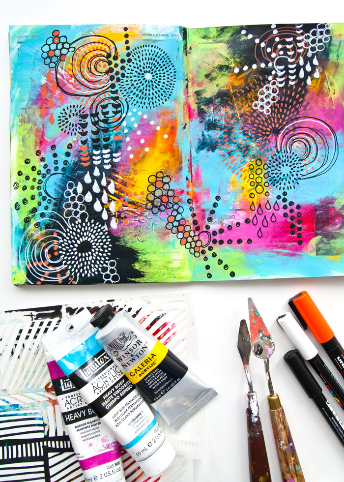 VIDEO: Doodle Art Painting Journal page - Kim Dellow