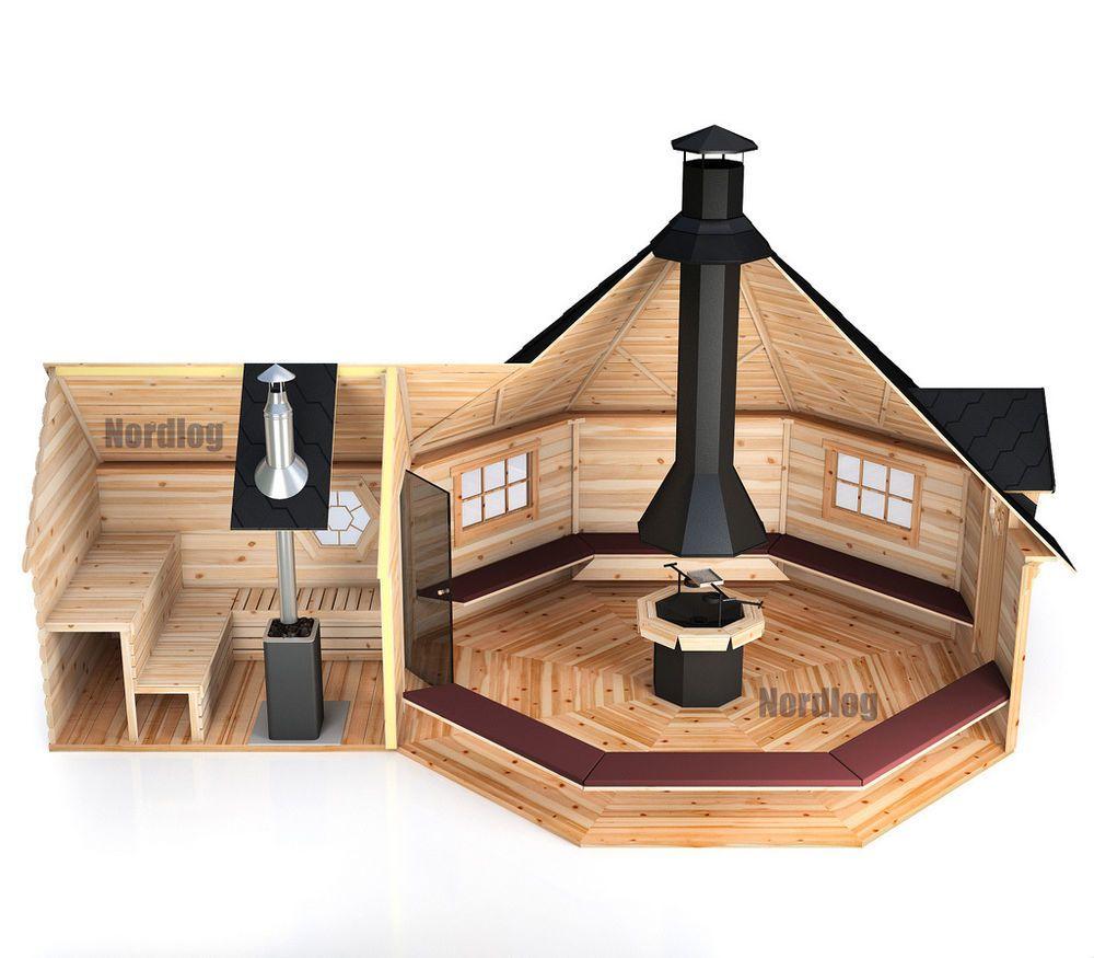nordlog grillkota 16,5m2 mit verlängter saunaanbau grillhaus