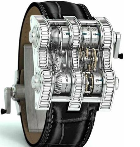 Cabestan Winch Tourbillion Vertical Watch  Engineering masterpiece: 1,352 components working together in masterful horological precision, driven by a 450 link chain and nickel drums.