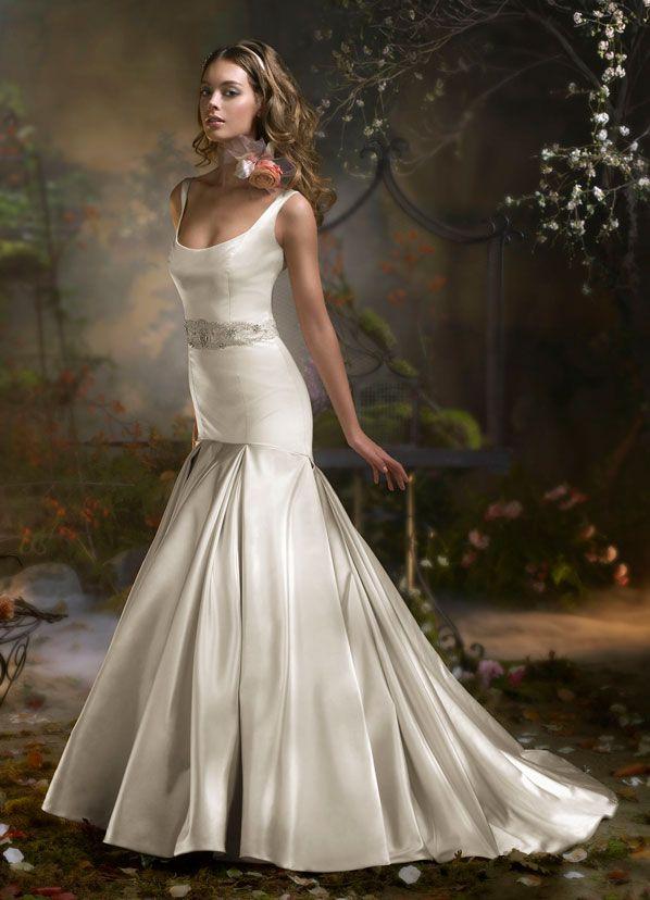 Antique BMW silk satin bridal gown, scoop neckline, jeweled belt ...