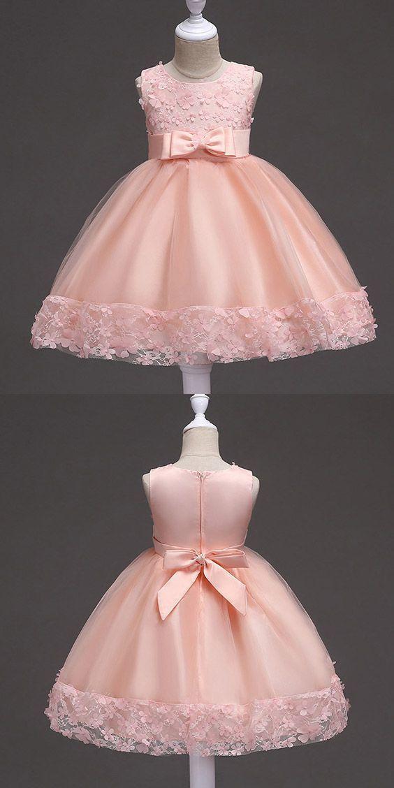 Boho Prom Dresses, Cheap Flower Girl Dresses Burgundy Short Flower Girl Dress With Floral Hem for Wedding – Ropa para niñas