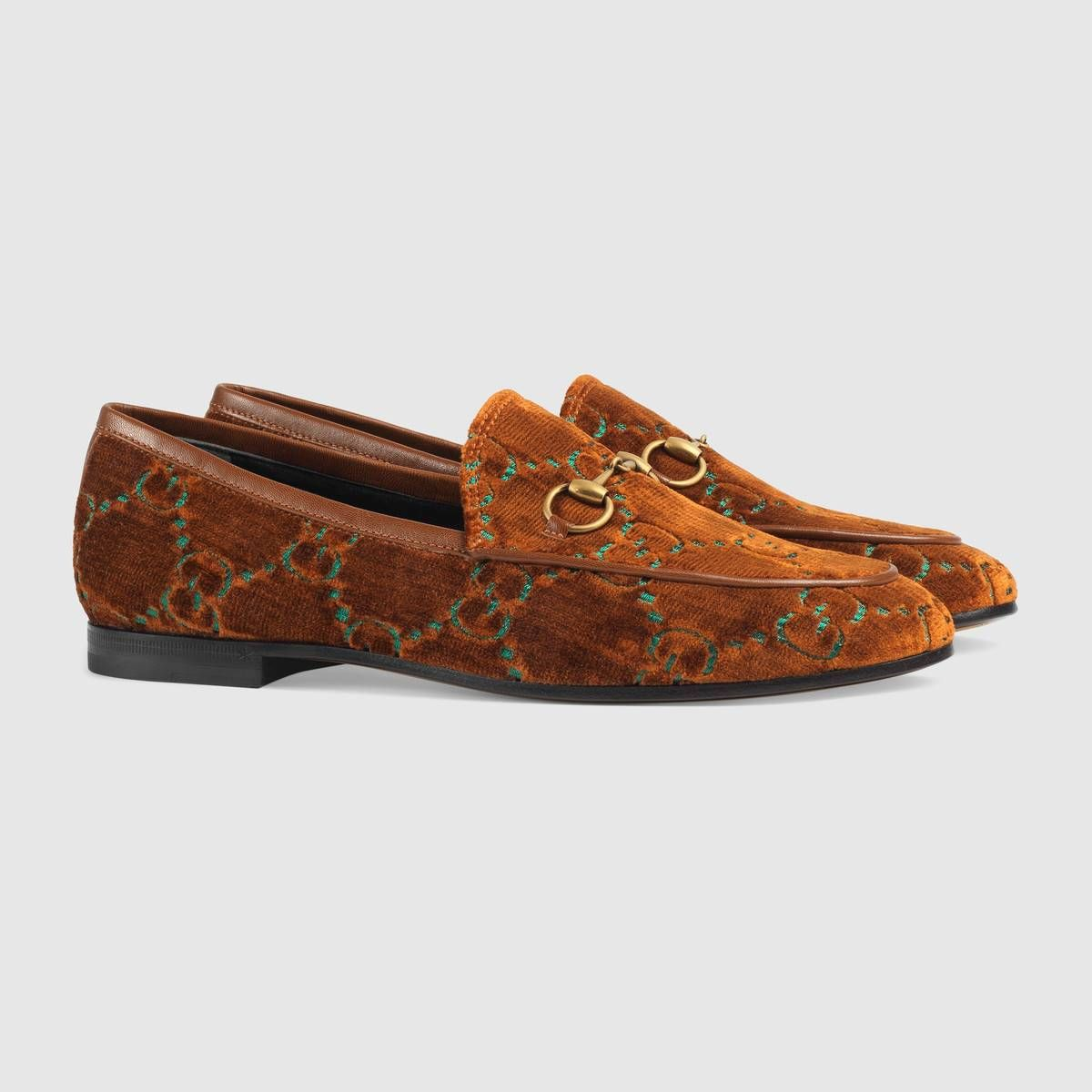 49f71b30e1 Gucci - Jordaan GG cognac & emerald velvet loafer ($730) | FLATS in ...
