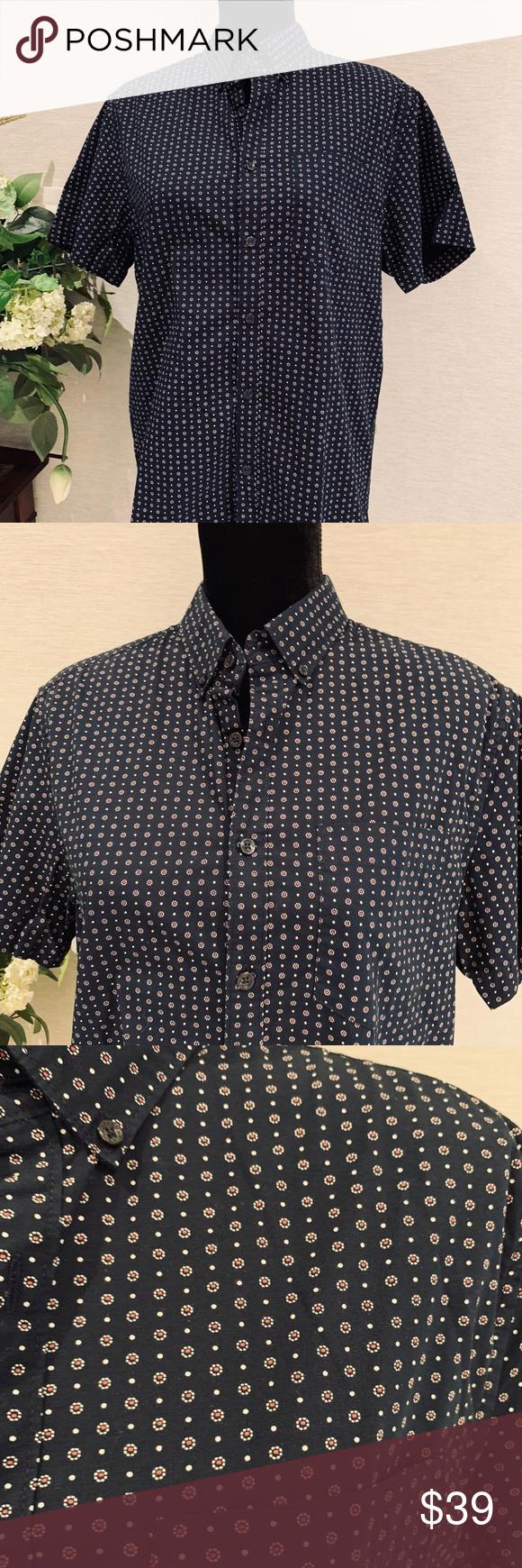 e4d79bd2899 Men s Sz M Navy Blue Denim   Flower Slim Fit A beautiful daisy pattern  delicately adorns