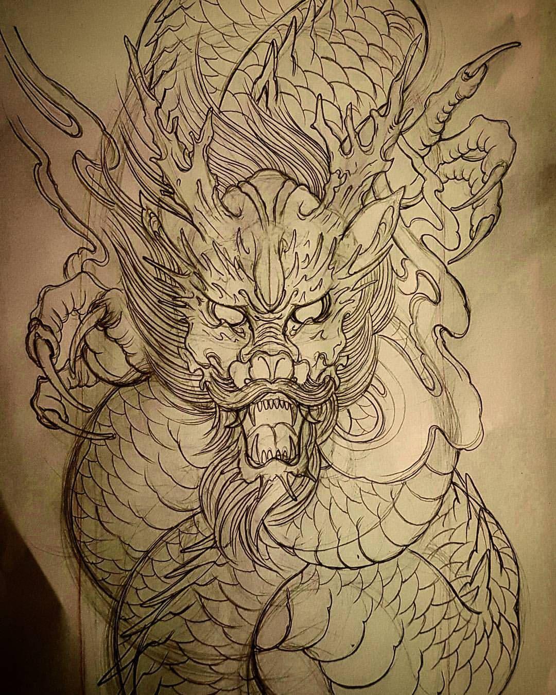 Forclient Dragon Ryu Sketch Pencil Custom Steelhearttattoosg Asian Dragon Tattoo Japanese Dragon Tattoos Dragon Tattoo Sketch