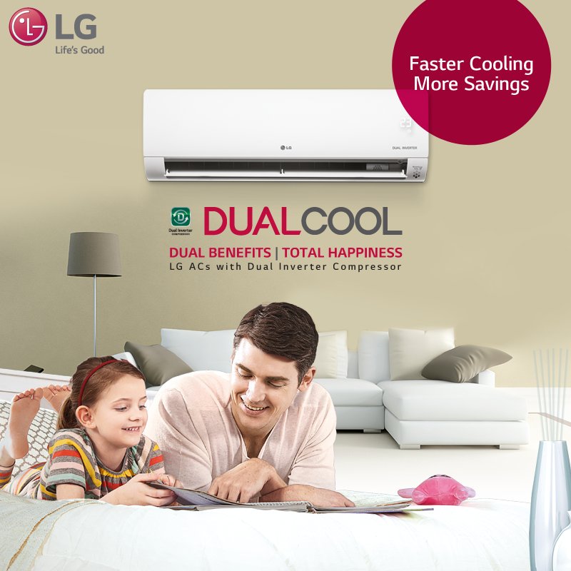LG AirConditioner with Dual Inverter Compressor ensures