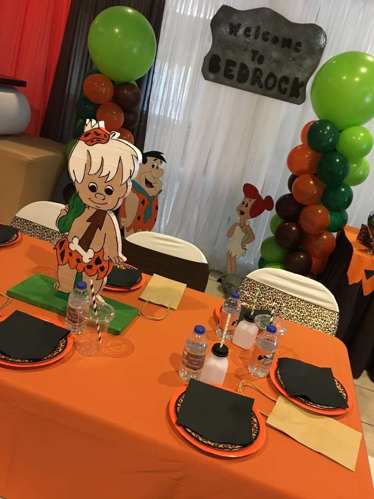 Flintstones Birthday Party Ideas in 2020 Baby boy 1st
