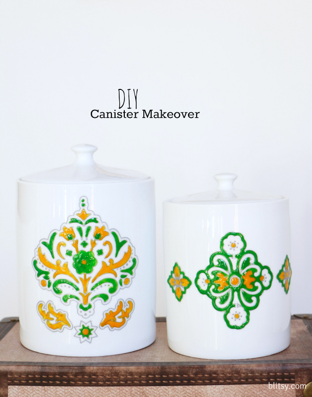 Update your kitchen canisters with the Martha Stewart Clings and Liquid Fill. These two combined together give you a pretty vintage hand painted look! Get your supplies at blitsy.com