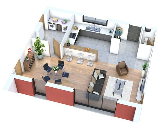 Amenager une piece cuisine salon salle a manger - Cuisine en image