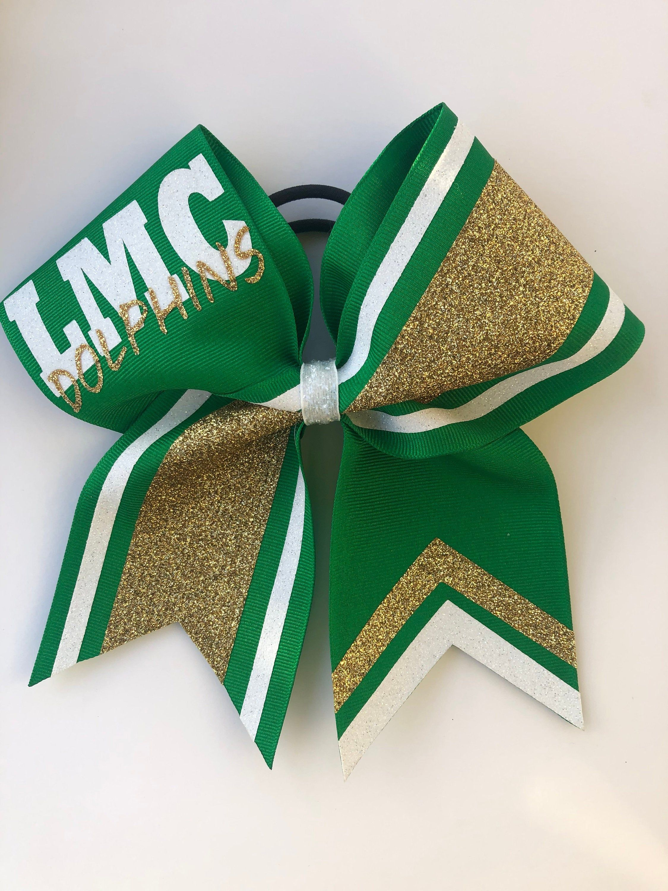 Kelly Green Gold And White Custom Glitter Cheer Bow Price Listed Below Is Per Bow Price Customize In Your Team Colors In 2020 Glitter Cheer Bow Custom Glitter Cheer Bows