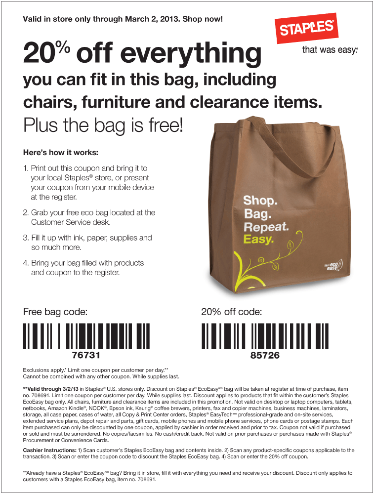 free bag 20 off whatever fits inside at staples coupon via the