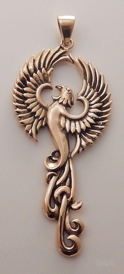 Phoenix Rising Pendant  Large Handcrafted Gold Tone Bronze Fire SUN Bird Amulet Sol P&225jaros