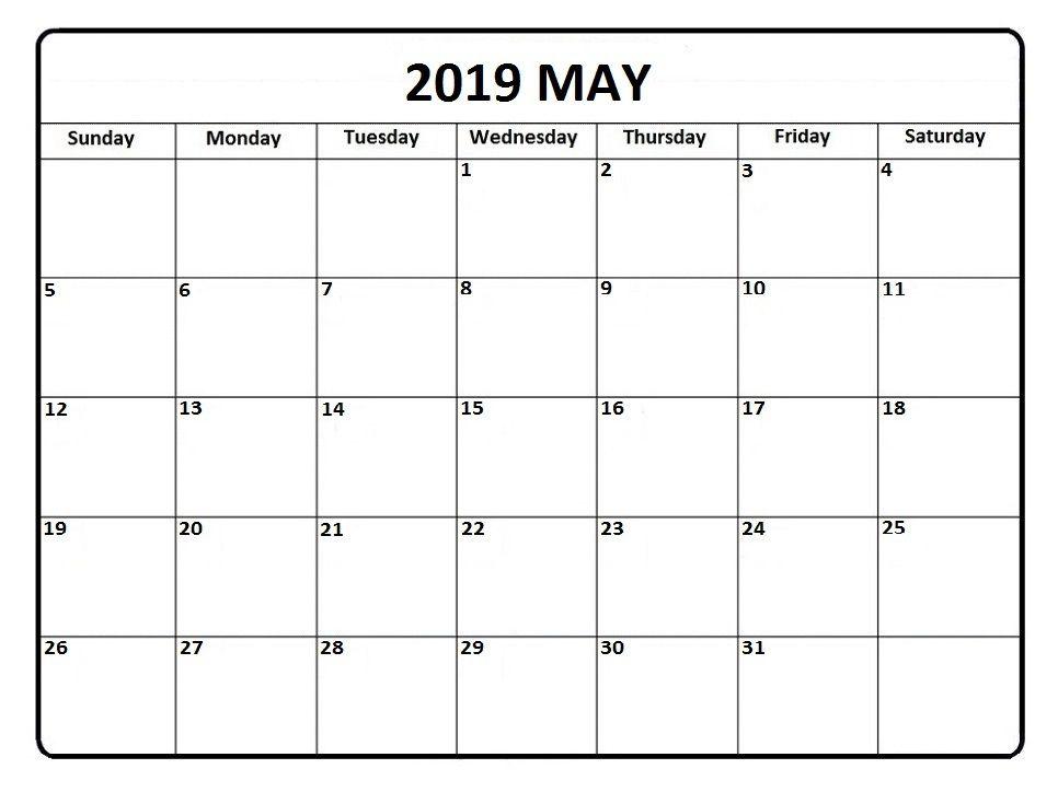 2019 May Calendar Printable Template Pdf Word Excel Editable
