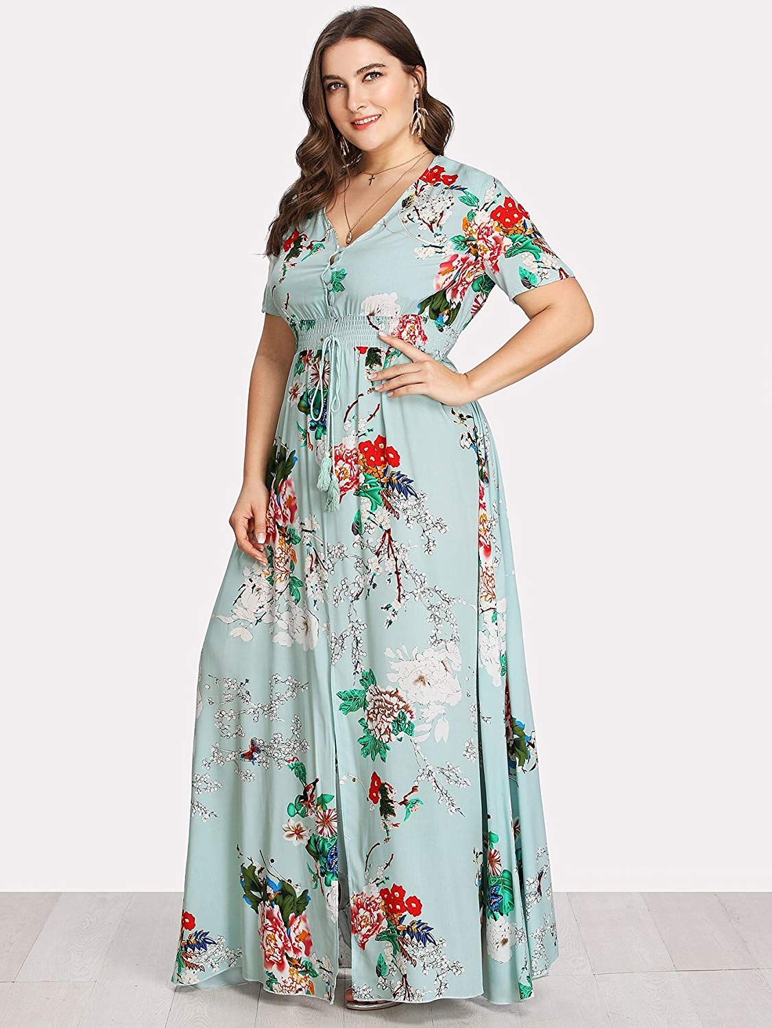 185cdf114ca Romwe Women s Plus Size Floral Print Buttons Short Sleeve V Neck Flare Flowy  Maxi Dress