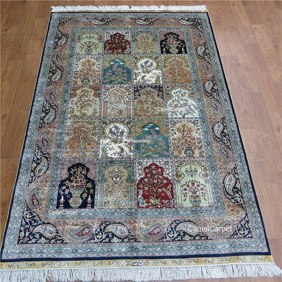 Garden Compartment Design Silk Rugs And Carpets 4 39 X6 39 122x183 Cm Free Shipping Silk Rug Rugs And Carpet Rugs