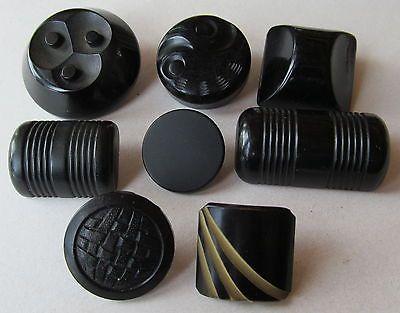 Assortment of 8 Vintage Black Bakelite Buttons
