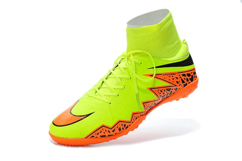 Worlds Nicest Nike Hypervenom Phelon 2 TF High Fluorescent Green Orange  Black $86.99