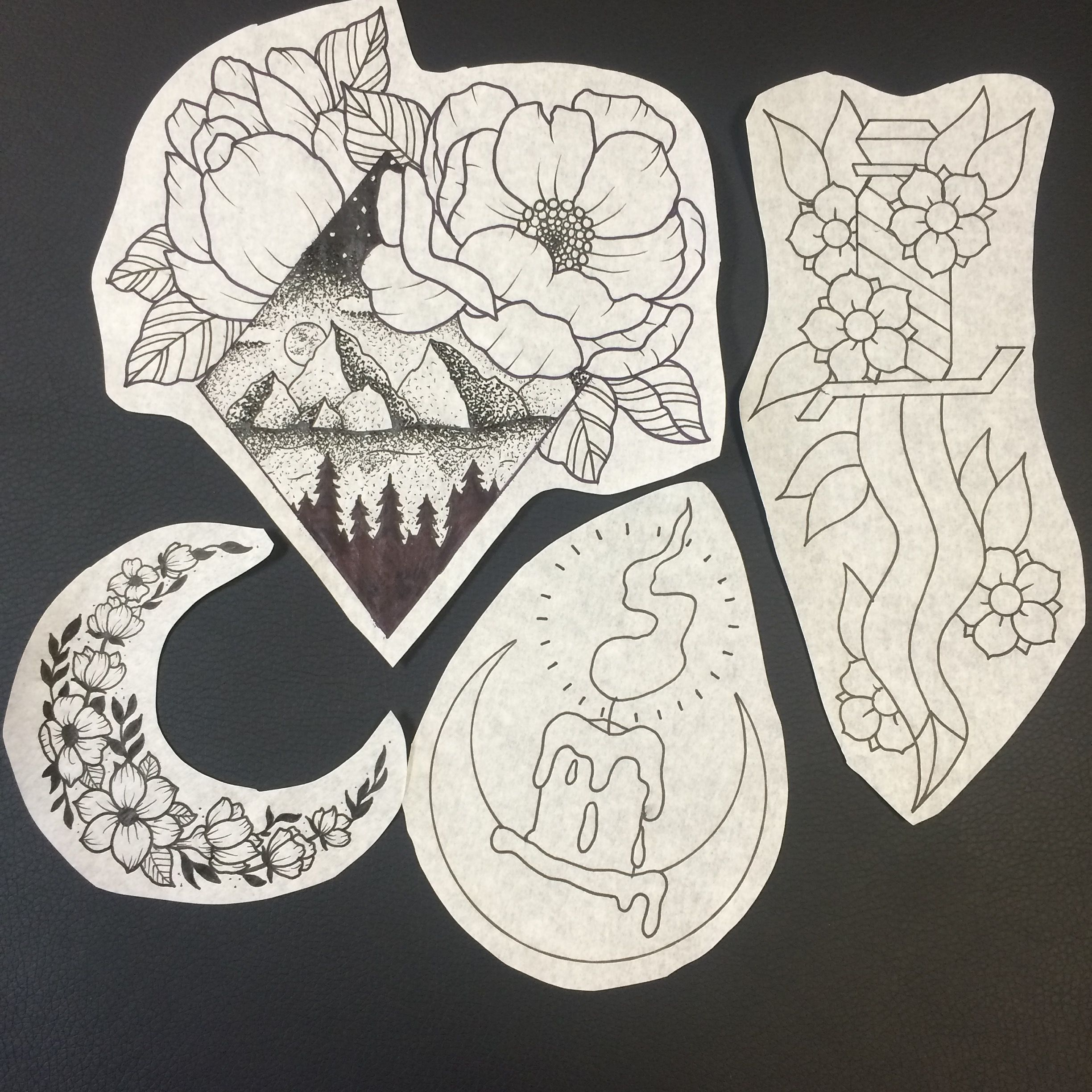 tattoo design of candle knife blade mountains pointillism dot work crescent moon flowers