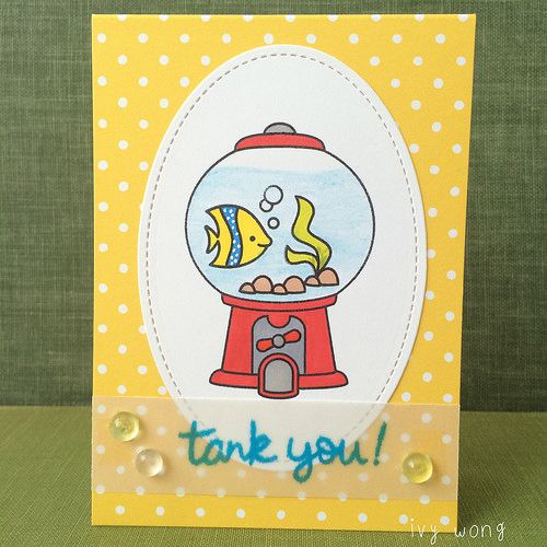 gum ball tank you is part of lawn Fawn Sweet Friends - all lawn fawn fintasic friends sweet smiles small stitched ovals sunflower notecards fish tank ink