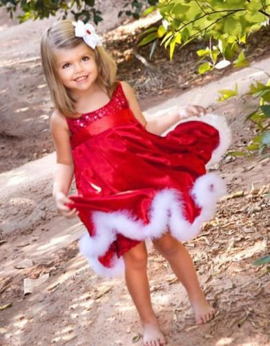 New Baby Girls Kids Christmas Party Red Paillette Tutu Dresses Xmas Gift