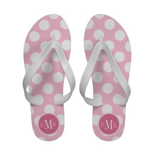 d6b8cf305 Lt Rose Pink White Big Polka Dots Pink Monogram Flip-Flops ...
