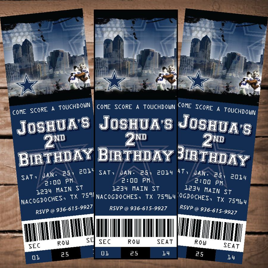 Printable Birthday Party Invitation Card Detroit Lions: Dallas Cowboys NFL Custom Ticket Invitation By
