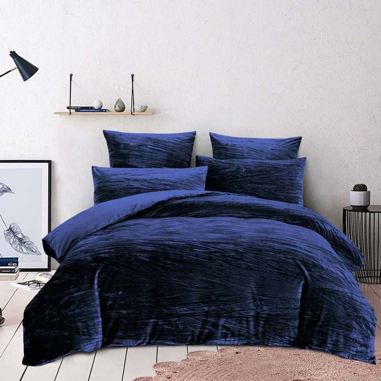 Koo Amara Crinkle Velvet Quilt Cover Set Navy King Velvet Quilt Cover Quilt Cover Sets Single Size Bed