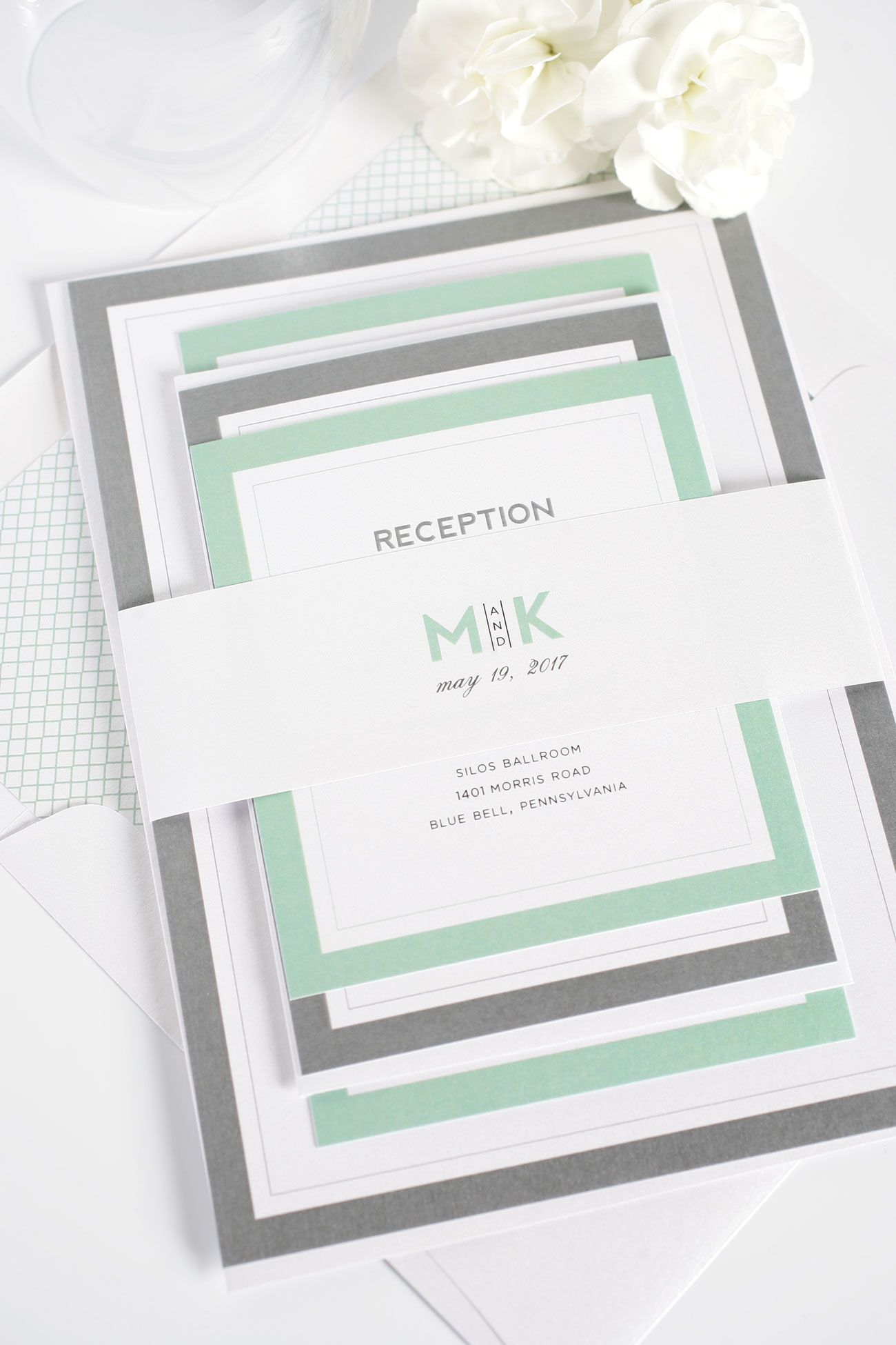 Modern Initials Wedding Invitations in Soft Jade | Pewter grey ...