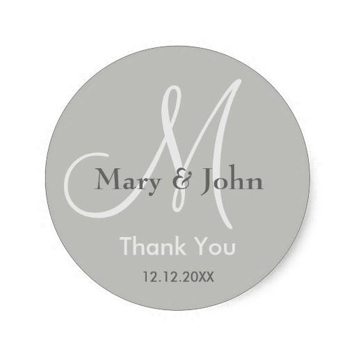 Silver Thank You #Wedding #Monogram Sticker